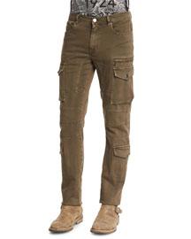 Elbert Garment-Dyed Slim-Fit Cargo Jeans, Slate Green