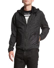 Felton Marled Fleece Hooded Jacket, Black