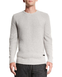 Lincefield Textured Crewneck Sweater, Pale Gray Melange