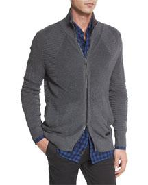 Karson Multi-Stitch Zip-Up Jacket, Mid Gray Melange