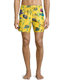 Moorea Moon Fish-Print Swim Trunks, Bouton D'or