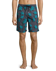 Okoa Sea Reflection Printed Swim Trunk, Black Pattern