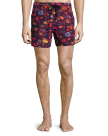 Moorea Printed Swim Trunks, Bleu Marine