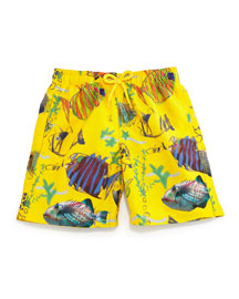 Jam Moon Fish Multi-Print Swim Trunks, Boys' 10-14