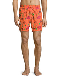 Mistral Moonfish-Print Swim Trunks, Clementine