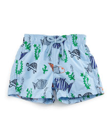 Jim Embroidered Moonfish Swim Trunks, Blue, Boys' 2-8