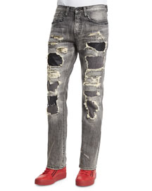 Leather Patchwork Distressed Denim Jeans