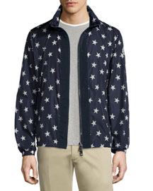 Star-Print Zip-Up Nylon Wind-Blocking Jacket, White
