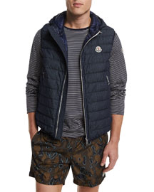 Dover Quilted Vest with Hood, Navy