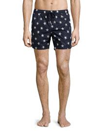 Star-Print Swim Trunks, Navy