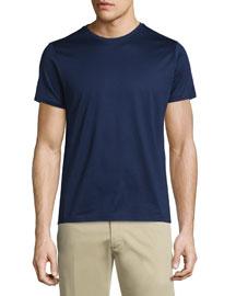 Side-Striped Short-Sleeve Crewneck T-Shirt, Navy