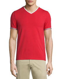 V-Neck Tape-Tipped Jersey T-Shirt, Red