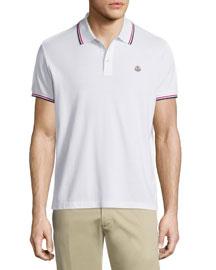 Tipped Short-Sleeve Pique Polo Shirt, White