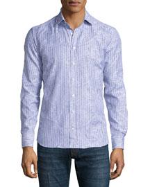 Striped Paisley-Print Sport Shirt, White/Blue