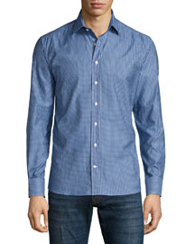 Micro-Pattern Long-Sleeve Sport Shirt, Blue
