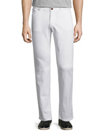 Five-Pocket Stretch Denim Jeans, White