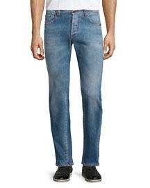 Five-Pocket Faded Stretch Denim Jeans, Blue