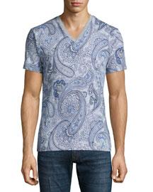 Paisley-Print V-Neck T-Shirt, Gray/Blue