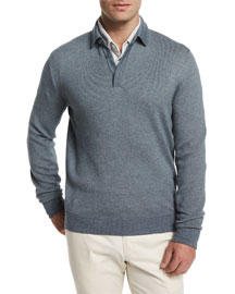 Cashmere-Silk Long-Sleeve Polo Sweater, Storm
