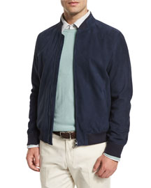 Rainmate Suede Bomber Jacket, Navy
