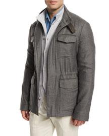 Traveler Shadow-Plaid Cashmere Field Jacket, Gray