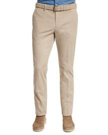Stretch-Cotton Slim-Fit Trouser Pants, Sand