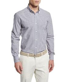 Check Long-Sleeve Sport Shirt, Blue/Orange