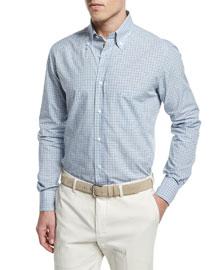 Check Long-Sleeve Sport Shirt, Light Blue/Gray