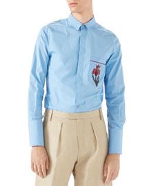 Piece Dyed Button-Front Shirt, Azure