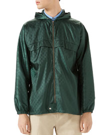 GG Hooded Nylon Jacket, Teal