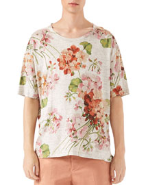 Raw Sienna Geranium-Print T-Shirt, Multi Colors