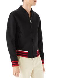 Caspian Felt College Zip-Front Sweater, Black