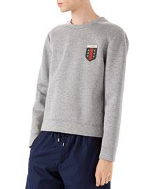 Long-Sleeve Knit Pullover, Light Gray