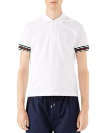 Cotton Piquet Polo Shirt with Web Detail, White