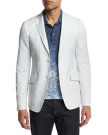 Tonal Jacquard Two-Button Blazer, White