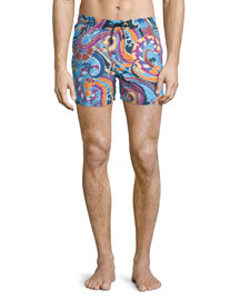Paisley-Print Swim Trunks, Multicolor