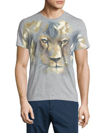 Lion-Face Print Short-Sleeve T-Shirt, Gray