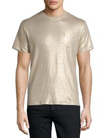 Shiny Metallic Short-Sleeve T-Shirt, Gold