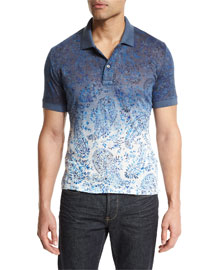 Ombre Paisley-Print Short-Sleeve Polo Shirt, Blue