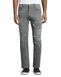 Tyler Destroyed Slim-Fit Denim Jeans, Destructed Olanti