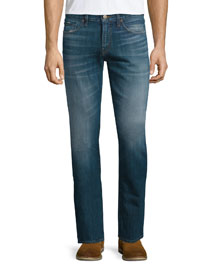 Kane Straight-Leg Washed Denim Jeans, Taurus
