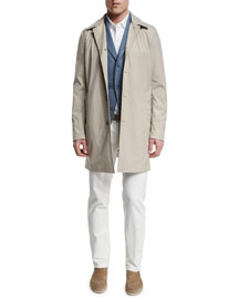 Delaware Button-Down Trench Coat, Pumice/Desert Dust