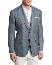 Plaid Wool/Silk Two-Button Sport Coat, Light Blue
