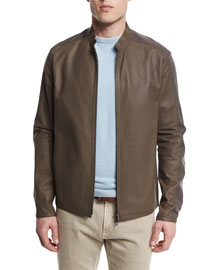 Two-Tone Leather/Windmate Zip Jacket, Laurel