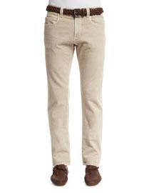 Five-Pocket Slim-Fit Pants, Light Nougat