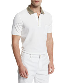 Regatta Contrast-Collar Polo Shirt, Optical White