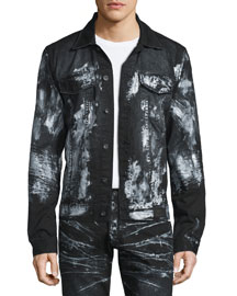 Paint-Splattered Button-Down Denim Jacket, Black