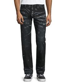 Barracuda Contrast-Whiskered Denim Jeans, Black