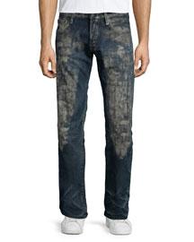 Barracuda Distress-Washed Denim Jeans, Dark Blue
