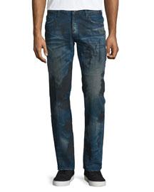 Barracuda Dirty-Wash Denim Jeans, Blue
